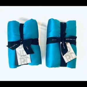 West Elm Washed Silk Sham Standard 2 Blue Teal New